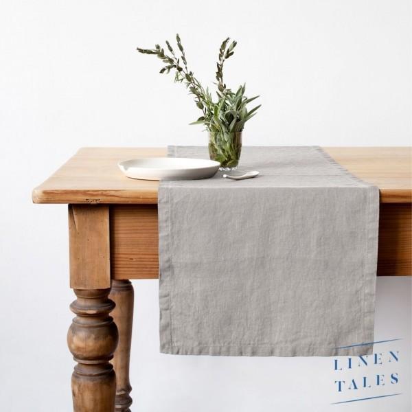 Leinen   Tischläufer   SILVER   Grau   Linentales