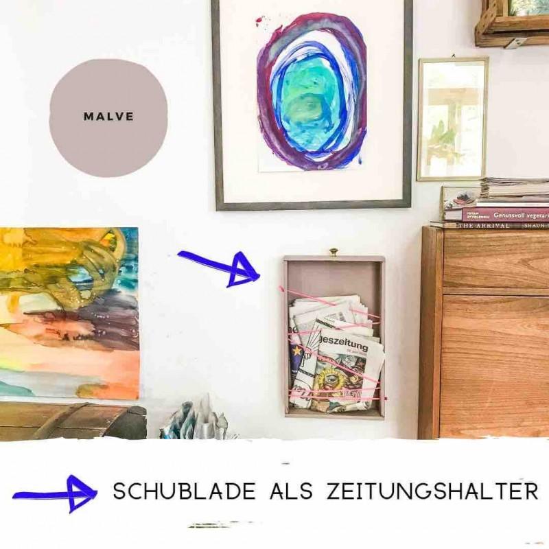 DIY Kreidefarbe Schublade als Zeitungshalter