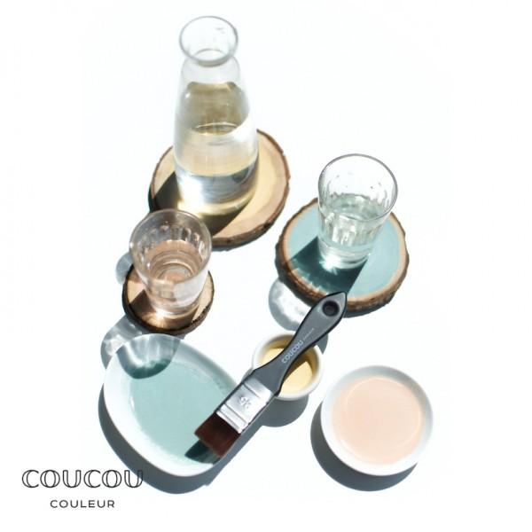 Baumscheiben-Untersetzer-Coucou-Couleur-Kreidefarbe