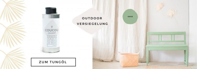 Kreidefarbe Outdoor Gartenbank streichen Gartenmoebel Coucou Couleur