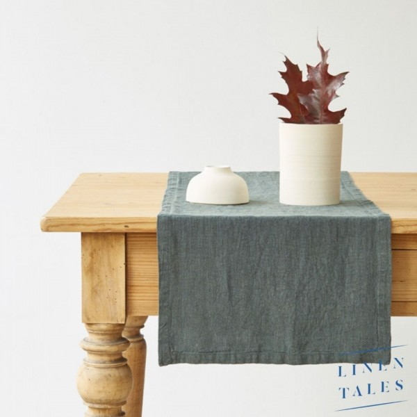 Leinen | Tischläufer | Dunkelgrün | Tischdeko | Linentales